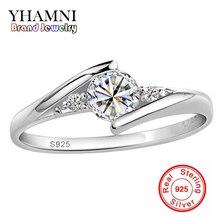 Enviar Certificado de Plata Real 100% Anillo de Plata 925 CZ 0.5 Quilates de Bodas de Diamante anillos Para Las Mujeres ANILLO de TAMAÑO 4 5 6 7 8 9 10 YH500036