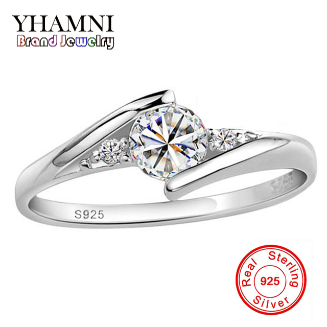 YANHUI Real 100% 925 Solid Silver Ring 0.5 Carat CZ Diamant Wedding Rings For Women RING SIZE 4 5 6 7 8 9 10 YH500036