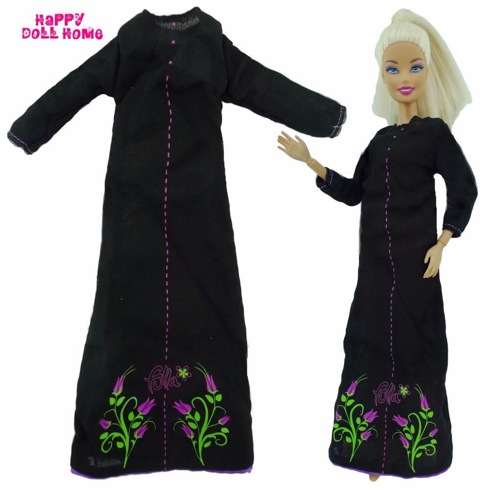 Trend Gown Princess Robe Lengthy Sleeves Outfit Costume For Barbie Doll Garments Dollhouse Equipment Toys Black Colour