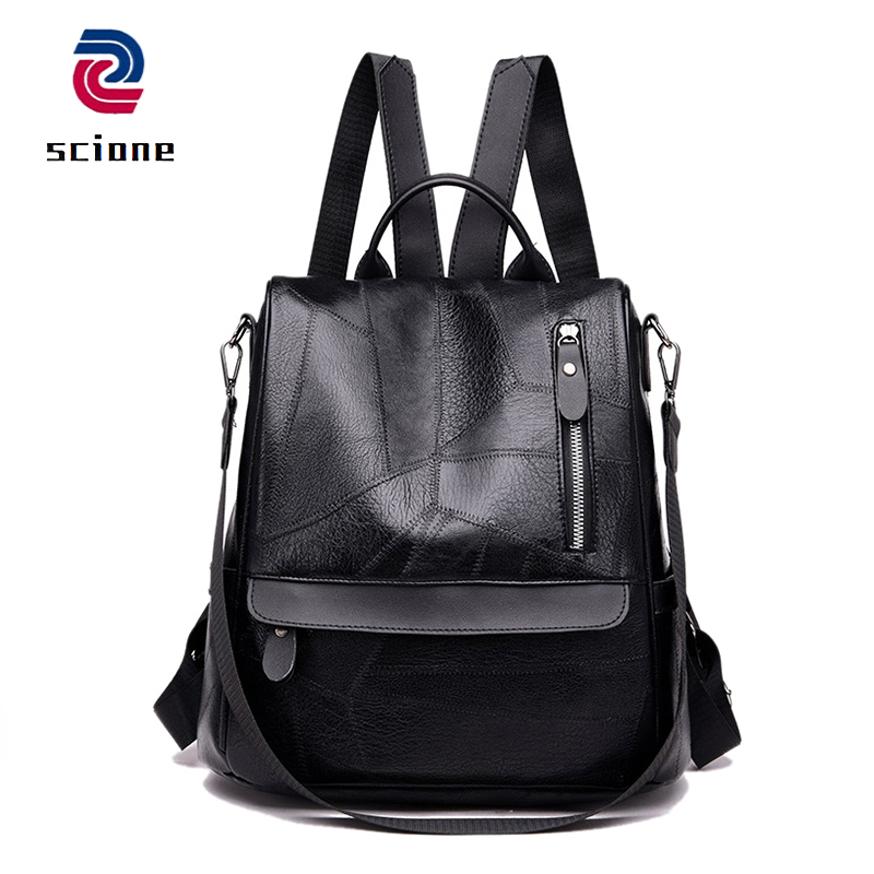 40d4a58a256 Anti-theft Soft PU Leather Women Backpack Casual Travel Bag Fashion School  Backpacks For Teenager Girls Multifunction Rucksack