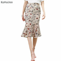 KoHuiJoo2017 Summer Fashion Long Mermaid Fishtail Skirt Women High Waist Flower Print Skirts Mid Calf Saia