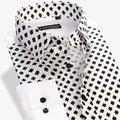 2016 nuevos hombres Floral de la buena calidad 100% del remiendo del algodón manga larga slim fit imprimir camisas casuales para hombre mens de las camisas