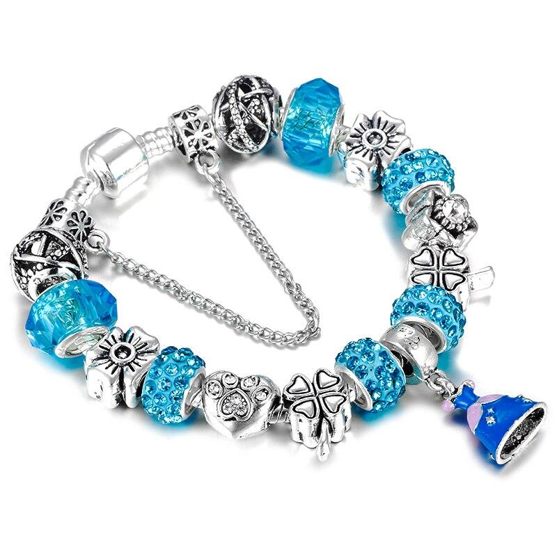HOMOD Cinderella dress dangle charms bracelet with Bear Claw beads Pandora Bracelet for female jewelry