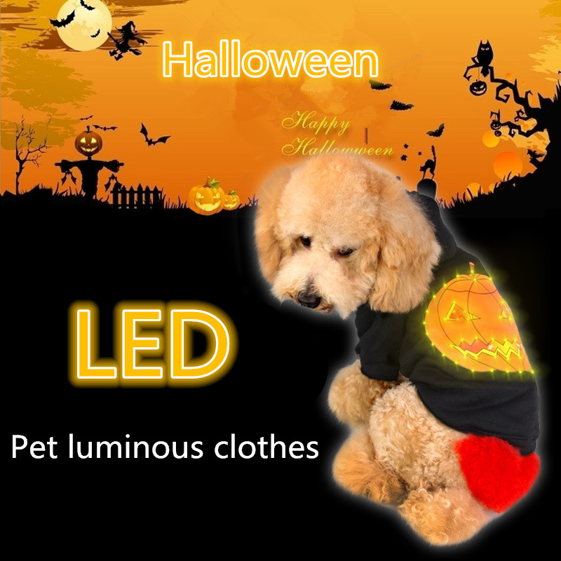LED Lnduction Luminous Pet Clothes Halloween / Christmas Creative Style Thick Fleece Hooded Sweater Dog Clothes Holiday Gifts
