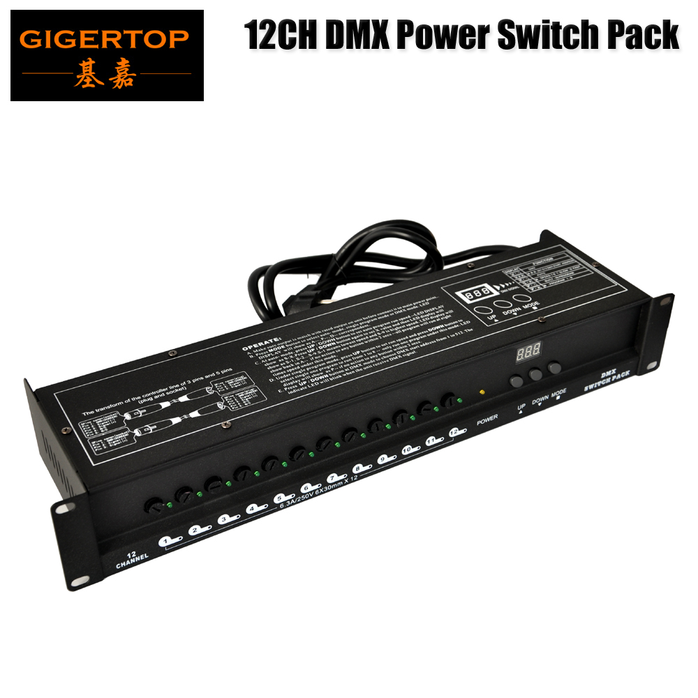 Gigertop TP-D1306 12CH DMX Power Switch Pack Console Silicon Bidirectional Thyristors And Zero-crossing Triggering