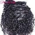 8A grado Clip Brasileño en Extensiones de cabello color natural virginal Brasileño Rizado Clip en Extensiones de cabello humano envío gratis