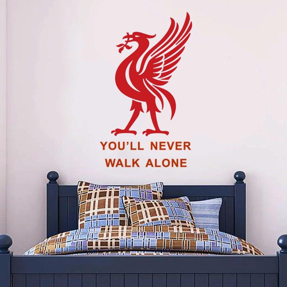 Liverpool Football Club Muursticker Je zult Nooit Alleen Lopen Inspiratie Quote Muur Poster Voetballer Wall Decals Gift AZ290 1
