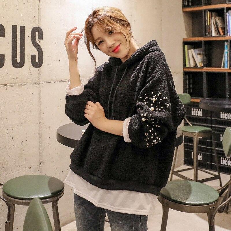 Chemise à capuche automne et hiver femmes hauts en tricot perlé polaire composite à capuche haut ensemble de deux ensembles de faux