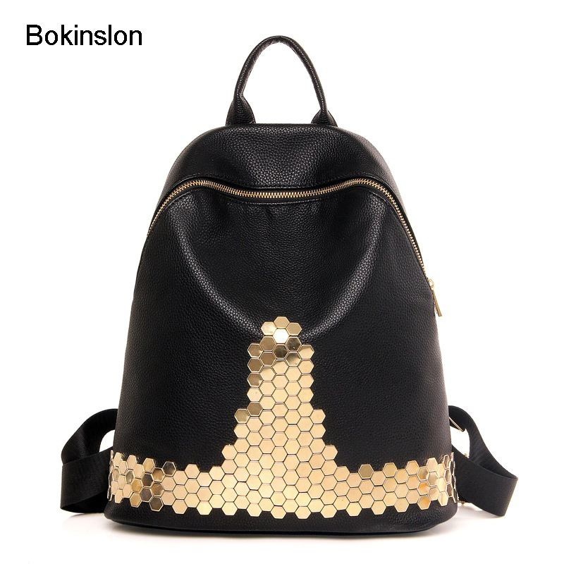 Bokinslon Women Double Shoulder Backpack Fashion PU Leather Bag Zipper Package Popular Student Backpacks