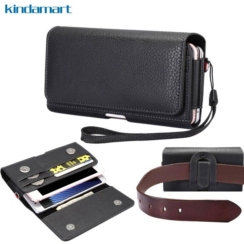 imágenes para Bolsillos dobles Bolsas de Cintura Clip de Cinturón Holster Case Para Samsung Galaxy S8 Plus A7 S8 J7 iPhone 6 S 6 7 Más Tirón de la Carpeta de Cuero caso