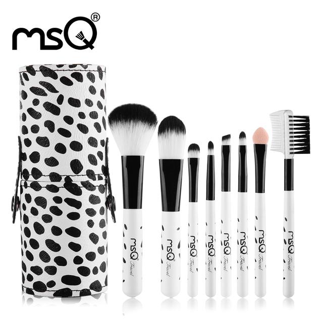 Leitoso Mini 8 pcs MSQ Pincéis De Maquiagem Viagem Definir Cabelo Sintético Macio Madeira Natural Lidar Com Cilindro de Couro PU