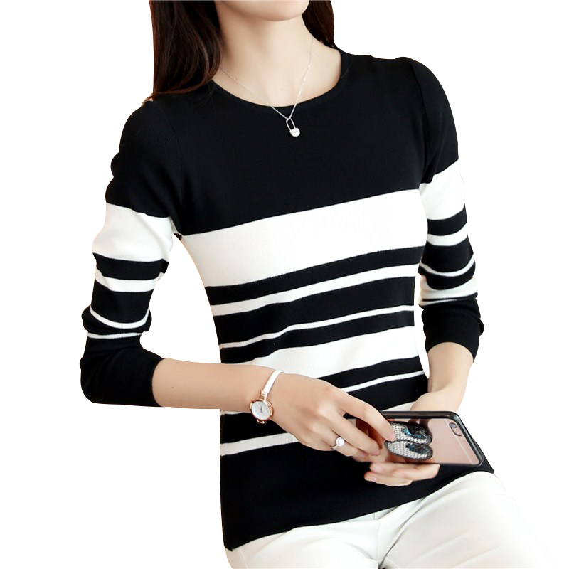 Korean Spring Autumn Women Sweaters And Pullovers O Neck Long Sleeve Striped Knitwear Slim Sueter Mujer Pull Femme