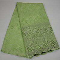 hot sale cheap price swiss voile lace in switzerland with 100% cotton swiss voile lace fabric stone in green