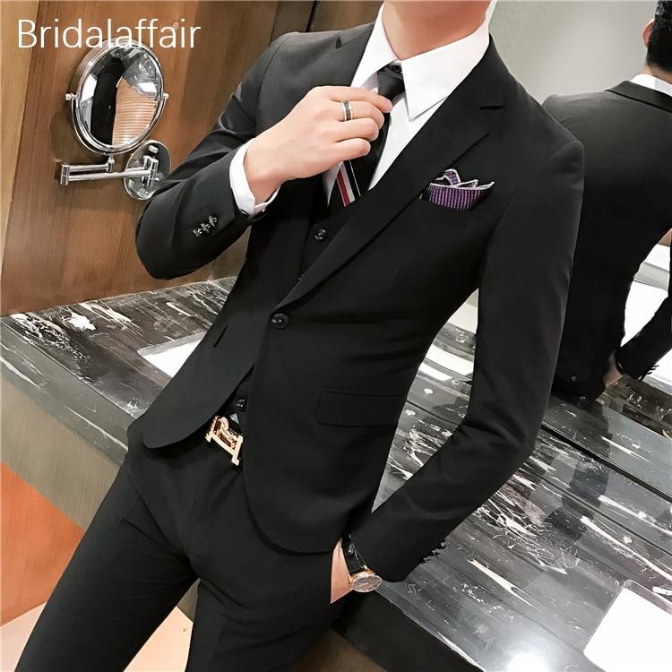 Terno veste 2018 Sur Gilet Costume Pcs gris Mariage Hommes Fit Slim noir Marié Costumes Pantalon Formelle Mesure Beige Bal Merveilleux Smoking Gris Masculino De 3 Hqdw1XHT