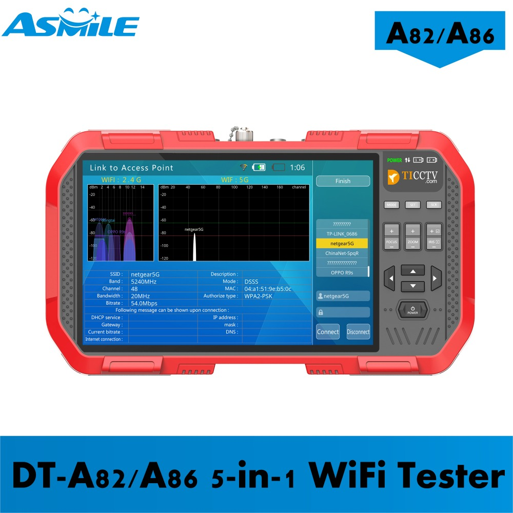 DT-A86 A82 7inch Cctv Tester With Support H.264& H.265& 4K Cameras; TVI 8MP & CVI 8MP & AHD 5MP From Asmile