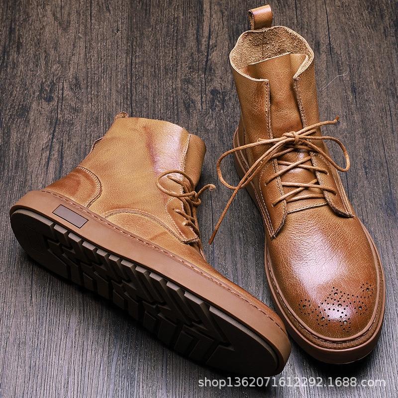 INOE мужские короткие зимние ботинки из овечьей кожи на меху на шнуровке для мужчин мужские полуботинки на шнуровке нескользящая подошва удо... - 4