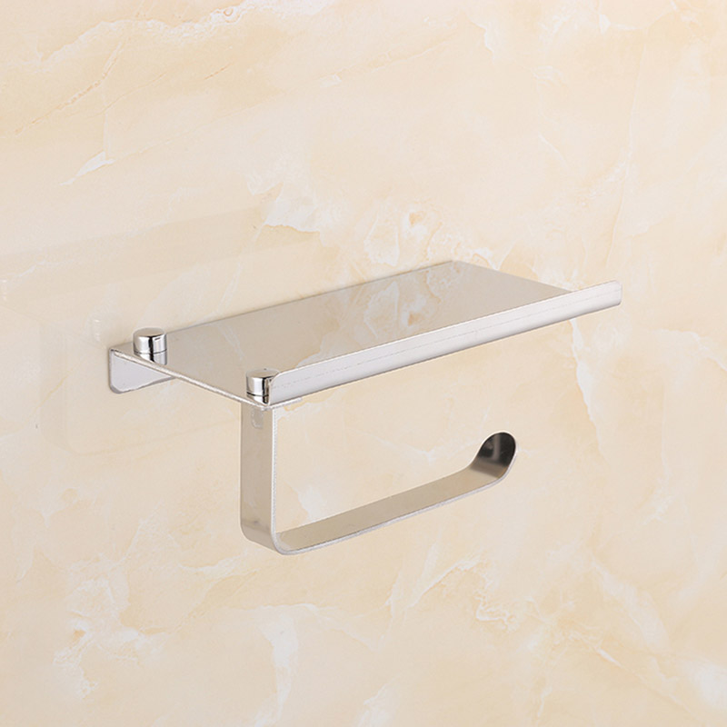 Stainless Steel Wall Mount Bathroom Toilet Roll Paper Holder with Mobile Phone Storage Shelf Rack Hot Sale