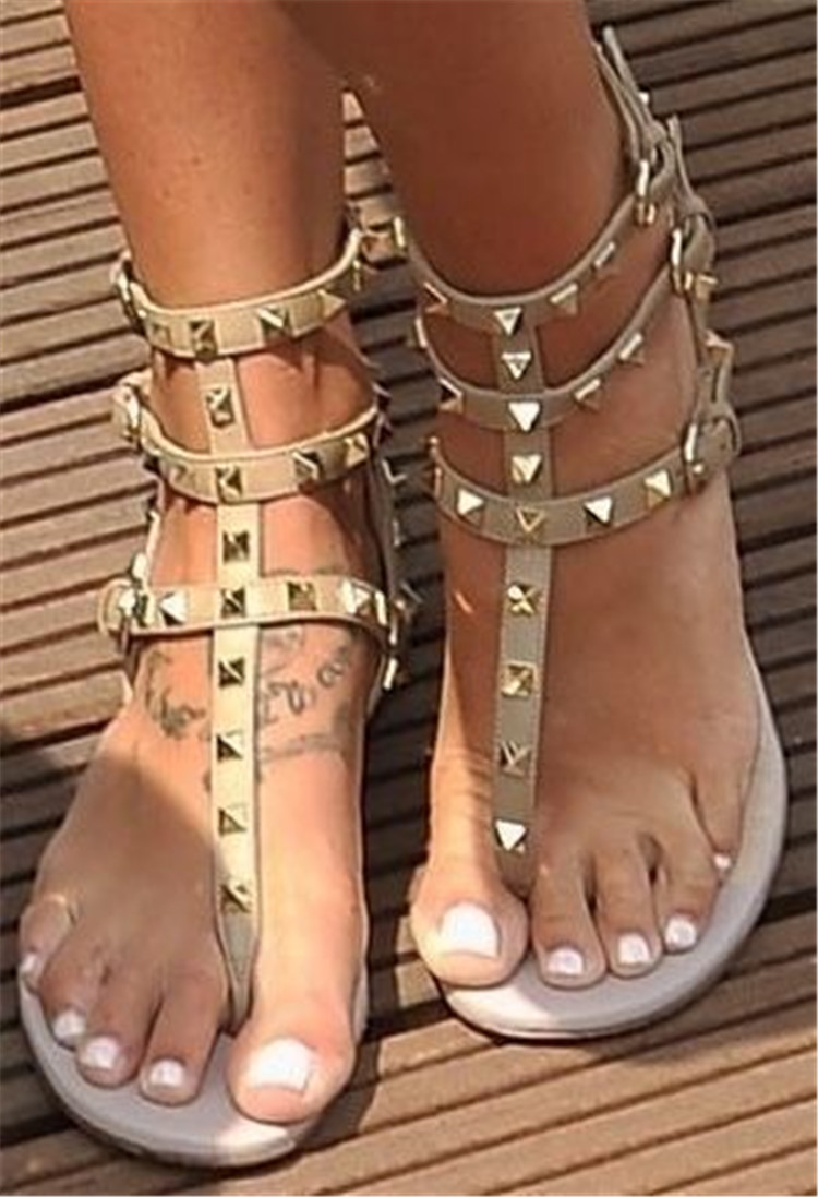 Fashion Rivets Narrow Ankle Strap Design Woman Sandals Sweety Open Toe Gneuine Leather Flat Heel Sandals trendy women s sandals with rivets and velcro design