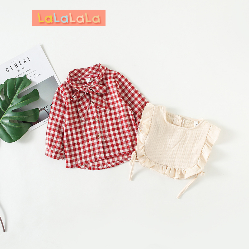 Tireless Baby Girls Shirt 2018 Autumn New Baby Clothes Girls Plaid Bow Long Sleeve Children's Shirt Baby Shirt Two-piece Single-breasted