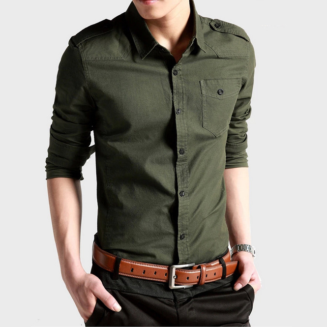 mens cargo shirts for men long-sleeved Plus Size Military Uniform slim shirt Mens Cotton-Padded Army Shirts