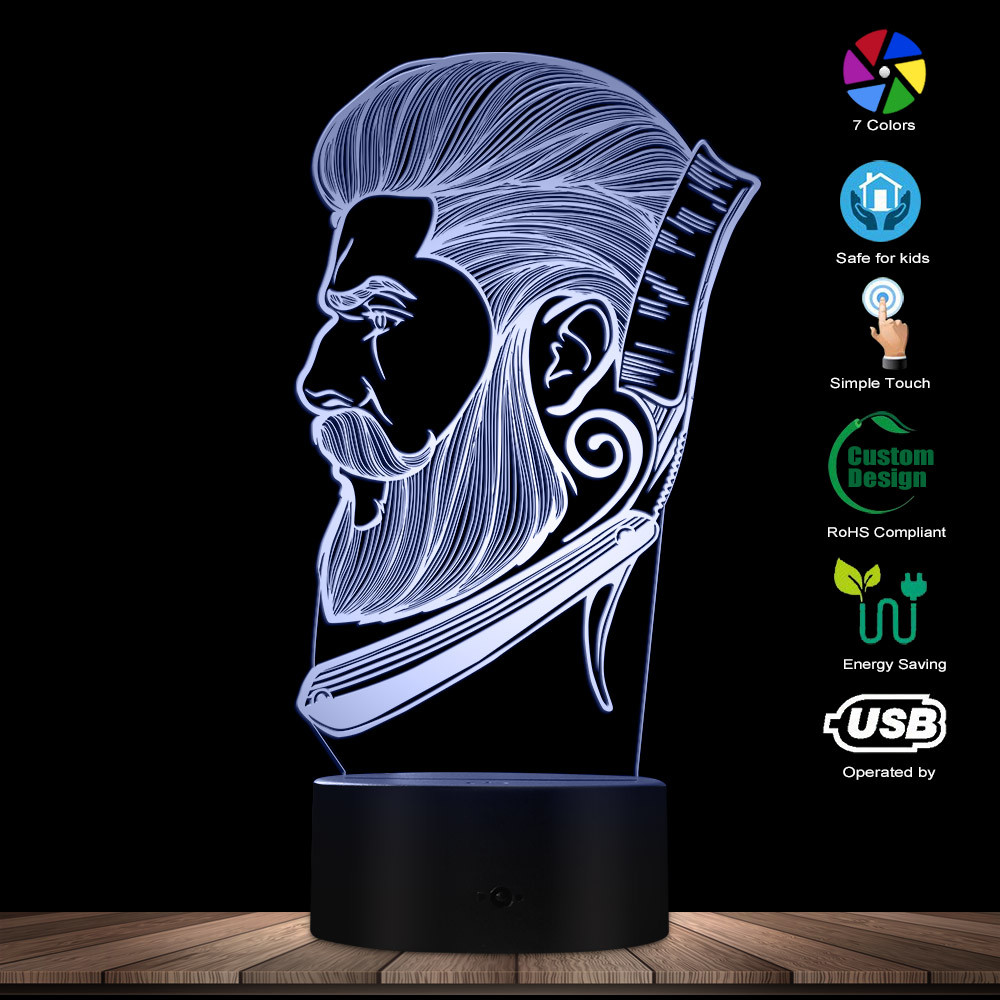 Barber Shop Business LED Night Light Beauty Salon Hairdresser Store Sign Creative Night Lamp 3D Optical Illusion Table Light