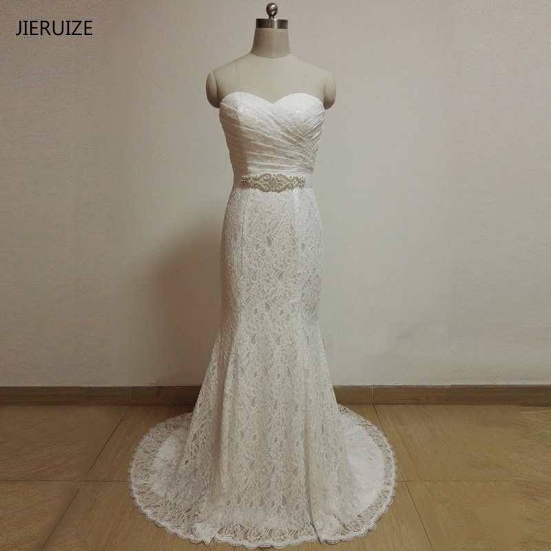JIERUIZE vestidos de novia White Lace Mermaid Wedding Dresses 2017 Sash Sweetheart Lace Up Back Wedding