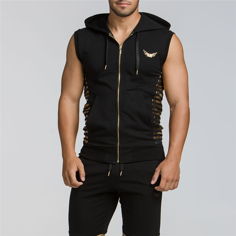 Hot 2019 Gyms Clothing Fitness Men Tank Top with hooded Mens Bodybuilding Stringers Tank Tops workout Singlet Sleeveless Shirt