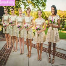Cheap but Elegant Gold Sequin Bridesmaid dresses Simple Cap Sleeves Mini Prom Party Dresses Junior Vestidos De Curto