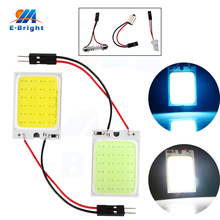 цена на 2pcs White Ice Blue COB 24 SMD LED Panels Light Dome Interior Map Reading Car Lamp With T10+Festoon+BA9S Adapters