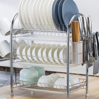 Large Capacity kitchen storage rack hanger stainless steel & plastic rack Stable Cutlery Dish Rack Plate Dish Drain Shelf