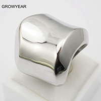 Wholesale Raised Edge 316L Stainless Steel Polished Silver Ring Women Jewellry Size 5 5 6 6