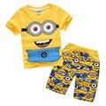 2016 Novo Conjunto de Roupas Crianças Meninos Roupas Definir Desenhos Animados Asseclas shirt Curto T + Calças 2 pcs Terno Roupas Crianças terno 3-12Years