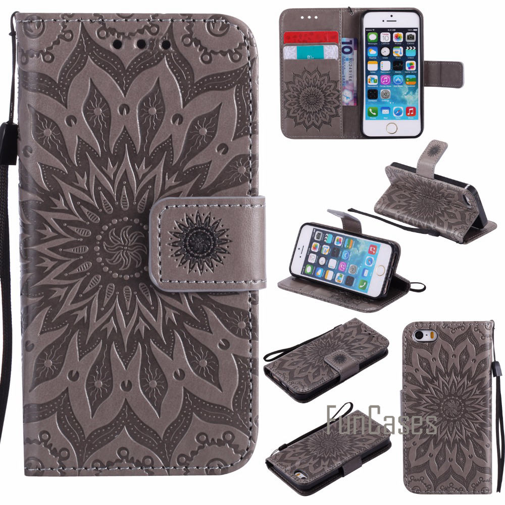 Luxury Flower Embossed Case sFor fundas iPhone SE Case sFor coque iPhone 5s 5 Case + Card Holders ipgone Protection a pple