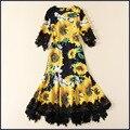 Новый 2017 весной яркий подсолнечника шаблоны печати женщины сексуальная русалка платье кружева лоскутное бахрома кнопки повседневные платья желтый