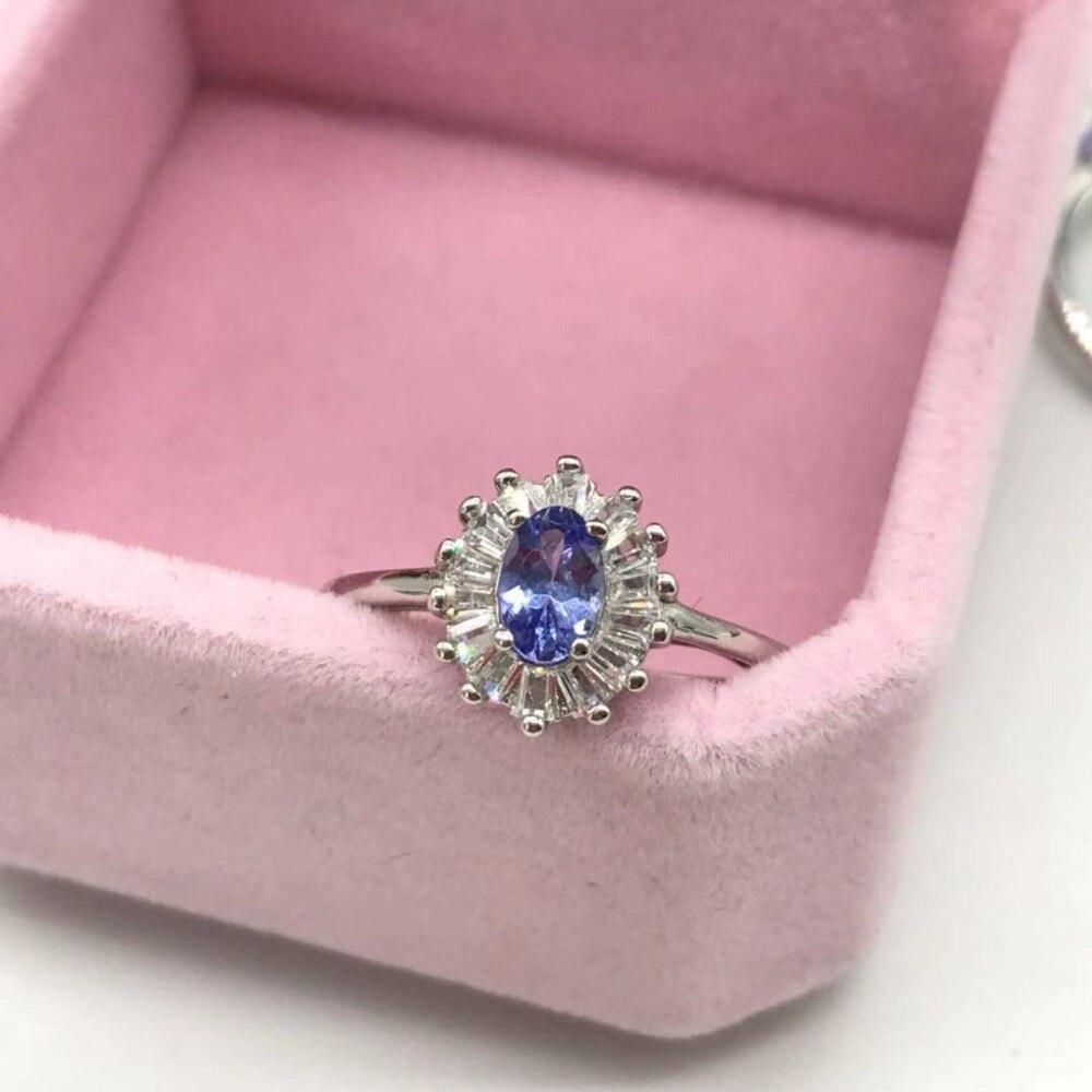 Natural Tanzanite Ring Fashion Ring REAL S925 Sterling Silver Inlaid Natural Tanzanite Ring