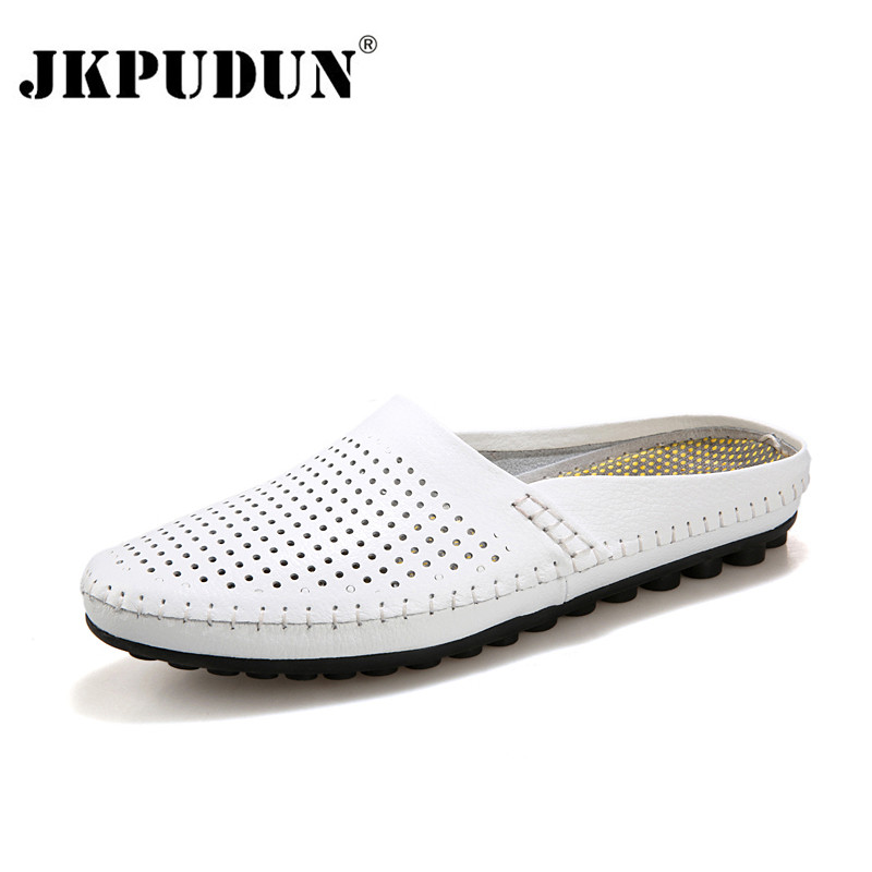 JKPUDUN Summer Men Shoes Luxury Brand Leather Casual Half Shoes Men Slippers Flip Flops Breathable Navy Studded Penny Loafers