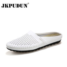 JKPUDUN Summer Men Shoes Luxury Brand Leather Casual Half Shoes Men Slippers Flip Flops Breathable Navy Studded Penny Loafers(China)