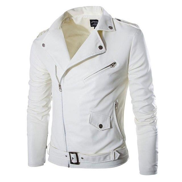 a2ae8c7cf77 Новая белая кожаная куртка Для мужчин Осень Марка jaqueta couro masculino  бомбардировщиков кожаные пальто Модная мотоциклетная