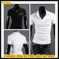 Free shipping 2013 New arrival Mandarin collar Brand Spring/Summer/Autumn contrast zipper pocket Tee shirt for men QR-1186