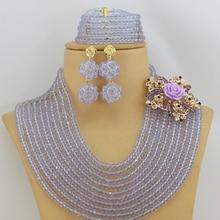 New Fashion Lilac Purple Crystal Beads Jewelry Set African Costume Beads Jewelry Set Wedding Jewelry Set Free Shipping AJS101