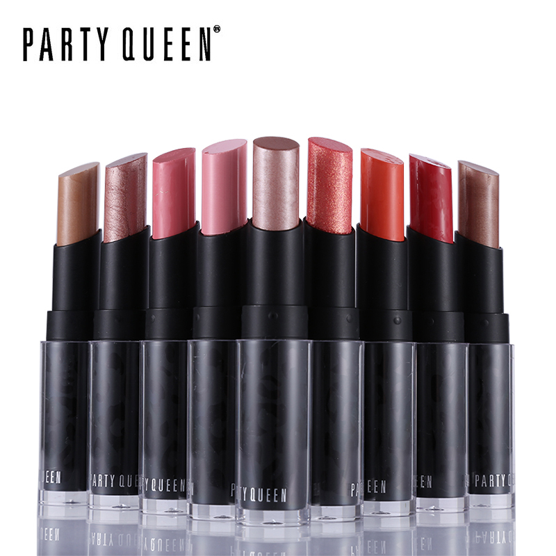Party Queen 12 Colors Shimmer Rose Guld läppstift Luxury Pure Creamy Fruity Batom Makeup Pop Sammet Fuktighetskräm Fettfärg Lips