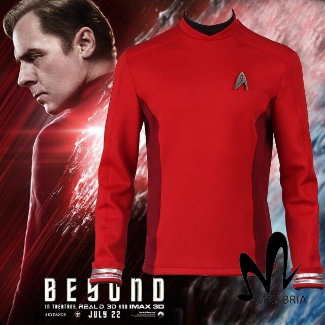 Star Trek За Скотти Рубашки Star Красный Trek Равномерное Star Trek Скотти Косплей Костюм рубашку Хэллоуин костюмы взрослых бесплатная badage