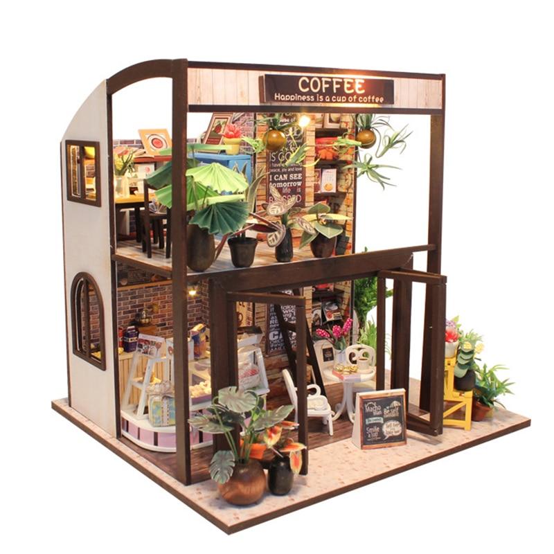 Miniatura casa DIY casa de muñecas Muñeca juguetes para niños con mueble de tiempo de espera Regalo de CumpleañosM027