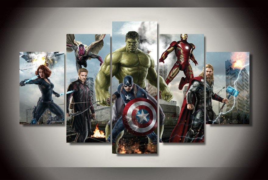 2016 New Promotion Cuadros Oil Painting Framed Avengers Age Of ...