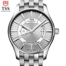 TSS мужские часы из нержавеющей стали белый смотреть MIYOTA Японии автоматические механические часы бизнес-мужчины часы водонепроницаемые полые тонкие