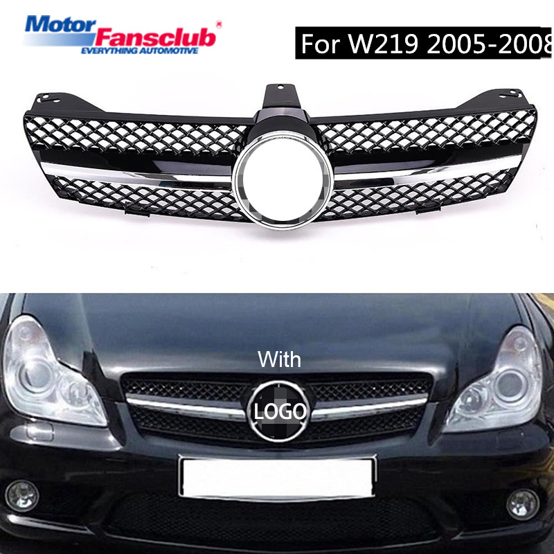 Sliver/Black Car Racing Grille For Mercedes Benz W219 Grill CLS500 SLS600 Emblems Chrome Mesh Radiator Front Bumper Lower Modify 2pcs car racing grille for ford fiesta 2014 2015 2016 grill abs black radiator chrome front bumper upper lower modify mesh