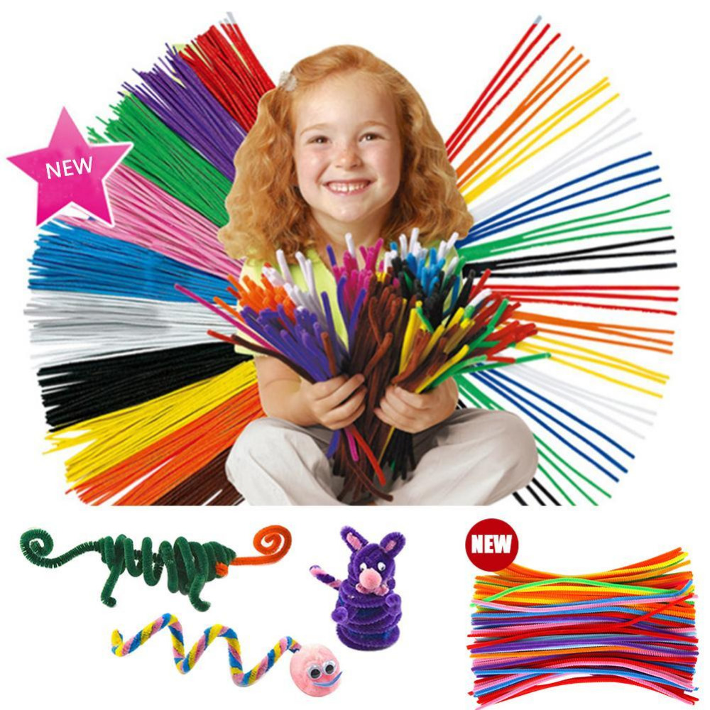 100pcs Children Kid Plush Sticks Cleaners DIY Craft Chenille Stems Handmade Handicraft Twist Rod Braiding Wire Education Toy