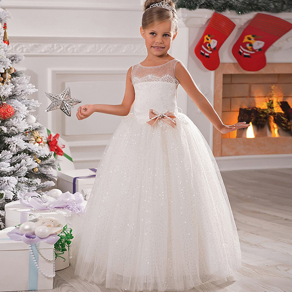 White/Ivory Custom Made Flower Girls Dresses for Wedding Shiny Sequins with Sash Puffy First Communion Dress Ball Gown gorgeous new white lace flower girls dresses applique with sash bow girls first communion dress ball gown custom made