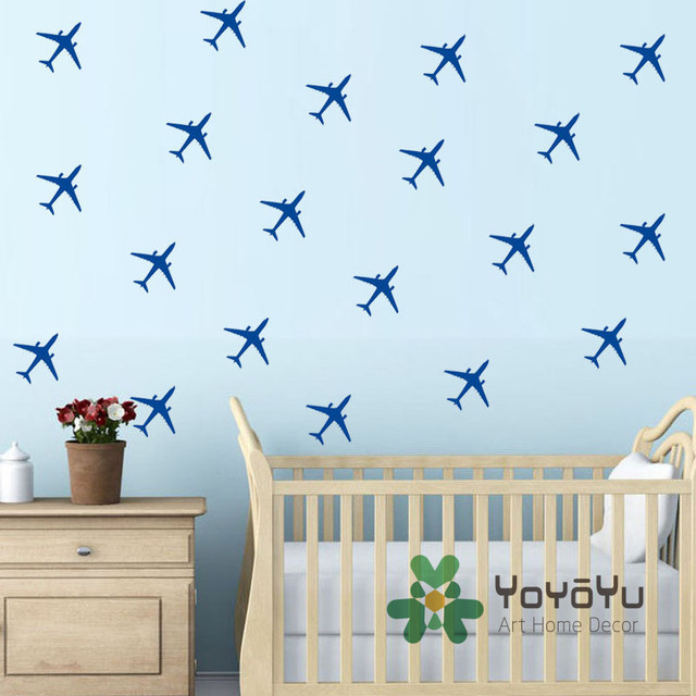 Set Of 20 PCS Little Air Planes Wall Decal Boys Room DIY Removable Wall  Sticker Kids