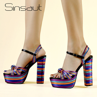 Sinsaut Women Sandals Wedges Shoes for Women High Heels Peep Toe Ankle Strap Platform Sandals zapatos mujer Multi Color